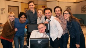 "Hawking e il cast di ""The Big Bang Theory"""