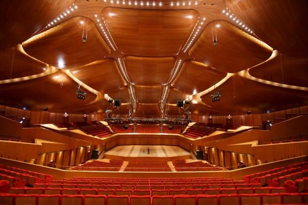 Una delle sale rivestite in legno dell'Auditorium