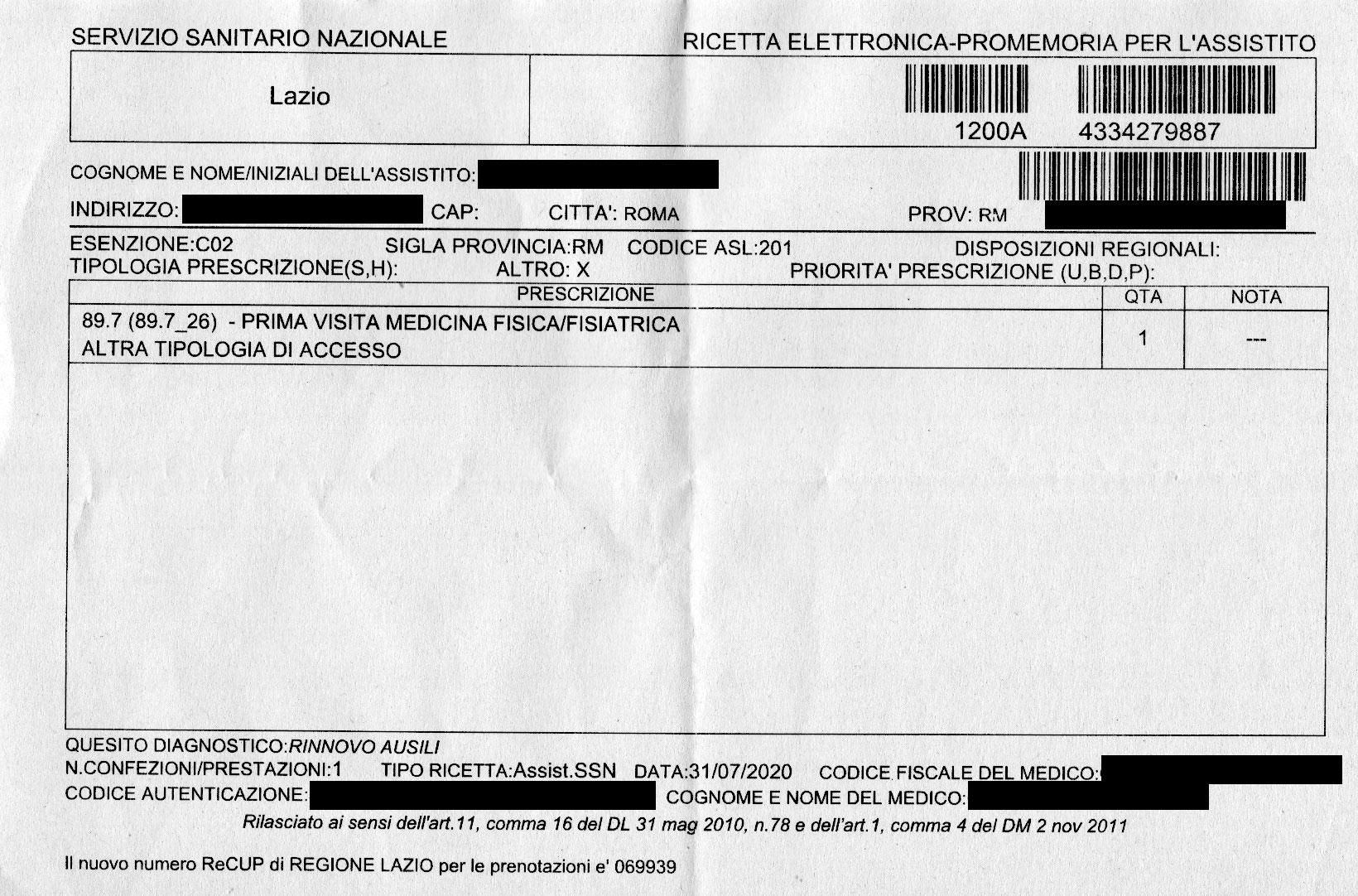 Prescrizione di visita fisiatrica