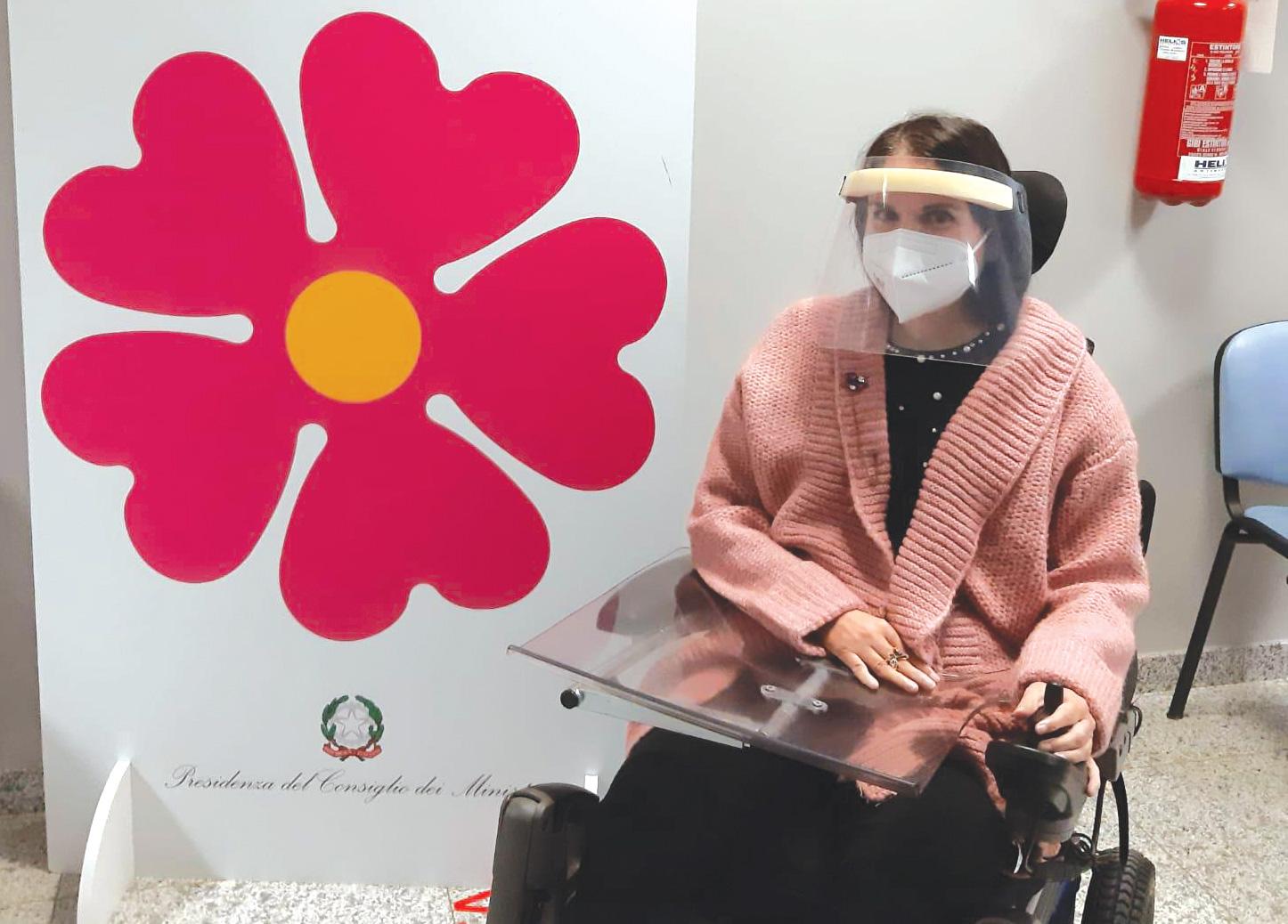 Stefania nel giorno della sua vaccinazione