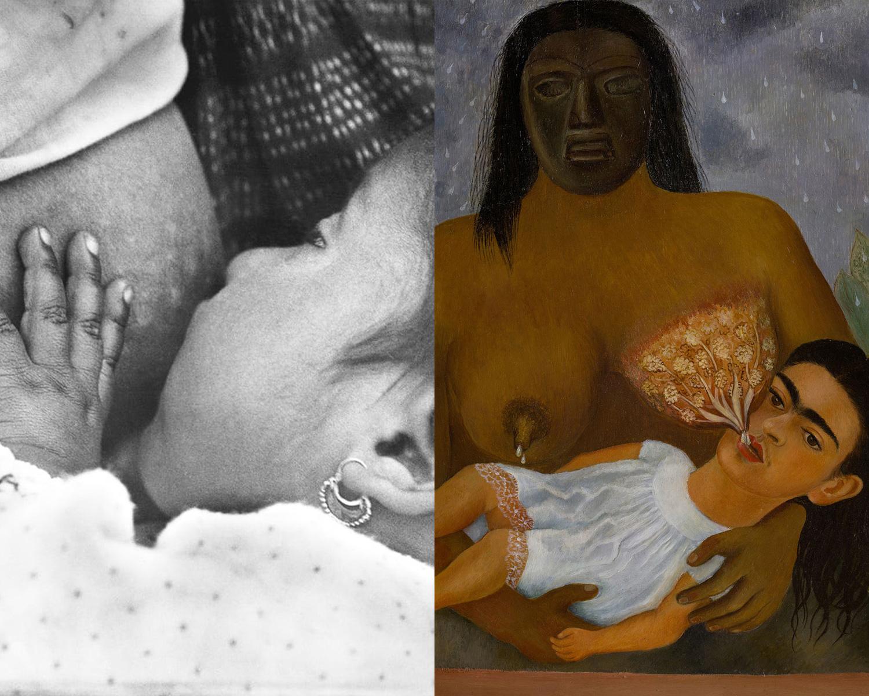 """Due dettagli da """"Baby nursing"""" di Tina Modotti e """"Io e la mia balia"""" di Frida Kahlo"""